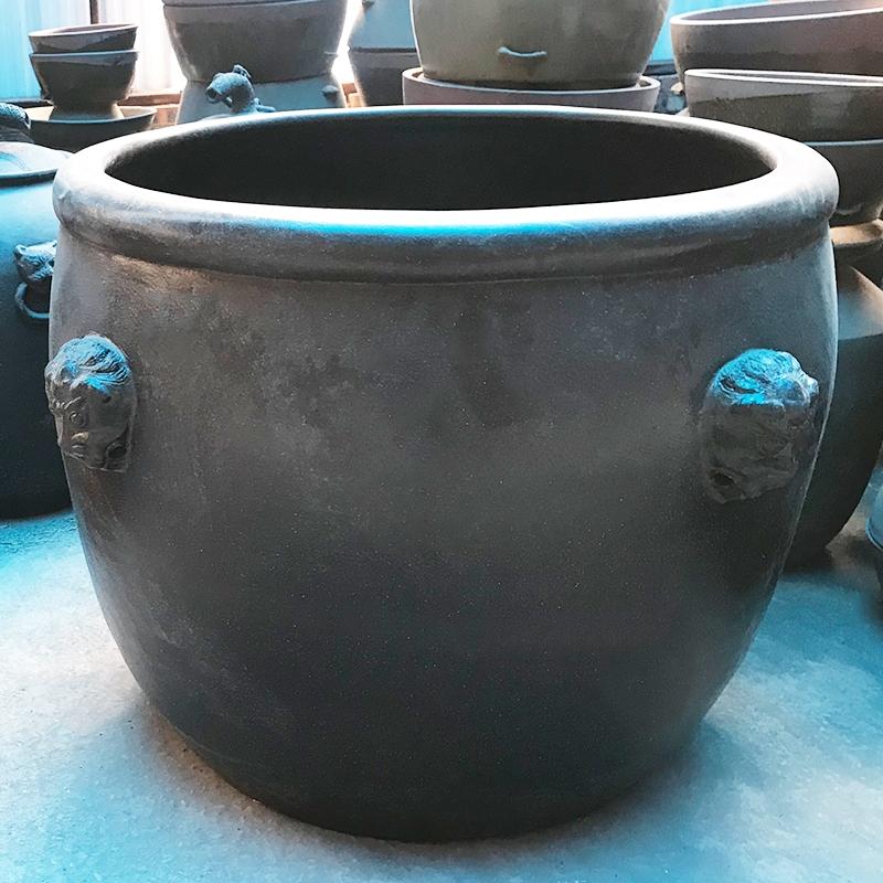 黑陶景观缸 土陶工艺品